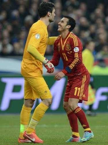 España ha conseguido ganar 0-1 en el Estade de France y le ha arrebatado a Franciael primer puesto en el Grupo I de clasificación para el próximo Mundial de Brasil 2014