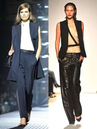 La chaqueta-chaleco o chaqueco es una de las tendencias que hemos visto sobre la pasarela, especialmente en los desfiles de Lanvin (izquierda) o Barbara Bui (derecha). Una vuelta de tuerca a la blazer que puede resultar un poco homeless.