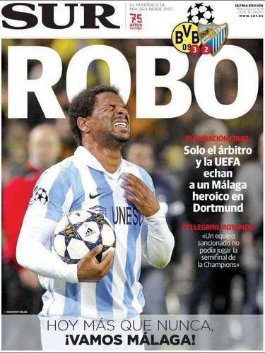 Portada del diario Sur dedicada íntegramente a la polémica eliminación del Málaga en la Champions League