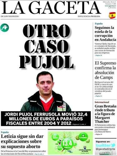 Portada de La Gaceta haciéndose eco de los movimientos de capitales en paraísos fiscales que se han detectado a cargo de uno de los hijos de Pujol