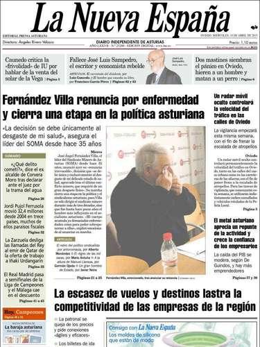 Portada de La Nueva España dedicada a la despedida de Fernández Villa