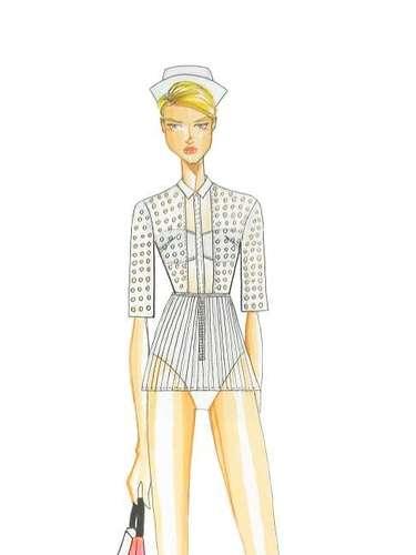 Ellus 2nd Floor: La colección representa la claridad y el humor de Roy Lichtenstein, uno de los principales iconos del arte pop del siglo XX. La figura de la enfermera, personaje destacado del artista, aparece en reinterpretaciones de abrigos y uniformes de hospital sobre puestas en ropa de playa.