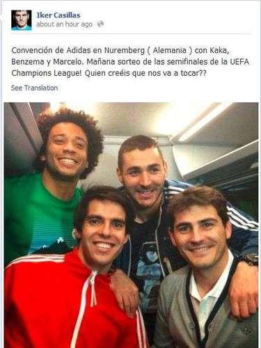 Por último, Iker Casillas compartió esta foto con Marcelo. Benzema y Kaká en el avión del equipo.