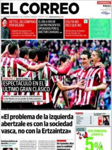 'El Correo' dedica su fotografía al fútbol con el empate del Athletic en la pasada jornada ante el Barcelona. Dedica espacio a las declaraciones de la Consejera de Seguridad, Estefanía Beltrán: \