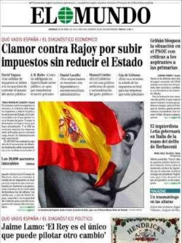 'El Mundo' copa su portada con un análisis político y titula con \