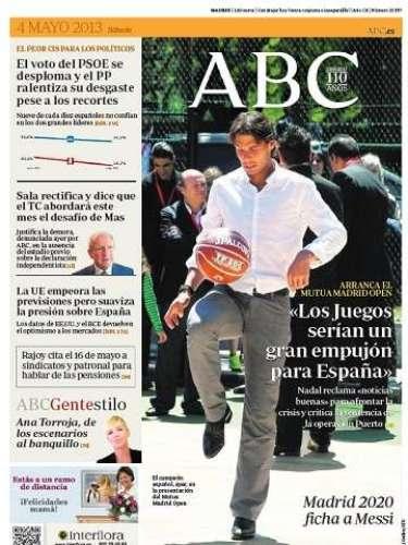 El Mutua Madrid Open de Tenis es protagonista de la portada del diario 'ABC'.