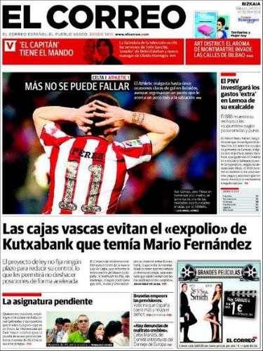 La imagen de 'El Correo' va dedicado al fútbol. Su titular lo enfoca de esta manera: \
