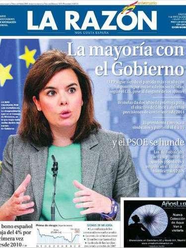 'La Razón' abre con los resultados de la encuesta del CIS con imagen de Soraya Sáenz de Santamaría y el titular: \