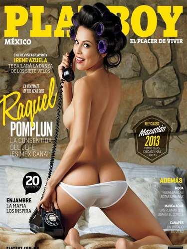 Mitad mexicana, mitad estadounidense,Raquel Pomplun adornó con su belleza la portada de la edición mexicana dePlayboy en agosto de 2013.