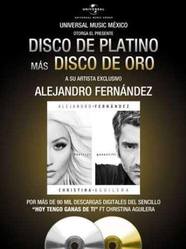 Alejandro Fernández, sigue cosechando éxitos. La estrella al conseguir más de 90,000 descargas digitales, con su hit a dúo con Christina Aguilera \