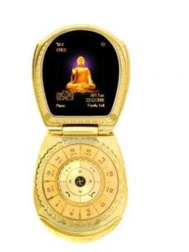 Golden Buddha Phone. Con una gema incrustada y una cobertura de oro de 24 quilates. ¿Su precio? unos 1.750 dólares. Esta rareza tenía unahabitación de rezo virtual, una aplicación para poder meditar y conectar con Dios.
