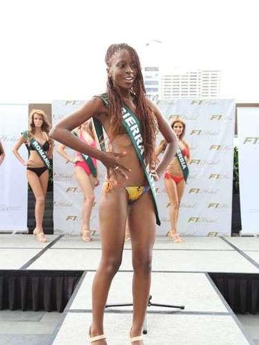 Miss Sierra Leona- Mariatu Dukuray, tiene 22 años de edad, mide 1.78 metros de estura (5 ft 10 in)y reside en Freetown.