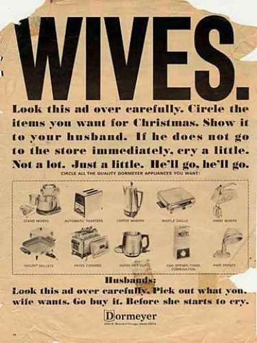 Este anuncio incita a los maridos a comprar \