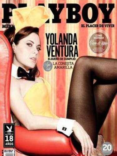 Yolanda Ventura.-La española de 44 años se convirtió en la portada de la publicación del mes de abril. La ex parchis ahora vende revistas para caballeros vistiendo los mismos colores que usó para vender discos.