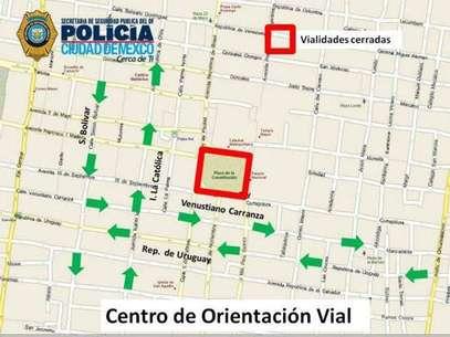 La Policía realizó cierres viales desde la glorieta de la Fuente de Petróleos hasta el Zócalo. Foto: Especial Reforma