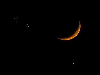 La Luna, Júpiter y Venus en el cielo, imagen captada en 2008 Foto: AFP