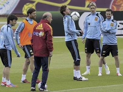 Del Bosque dando indicaciones a sus jugadores previo al choque ante Irlanda Foto: Alvaro Barrientos / AP