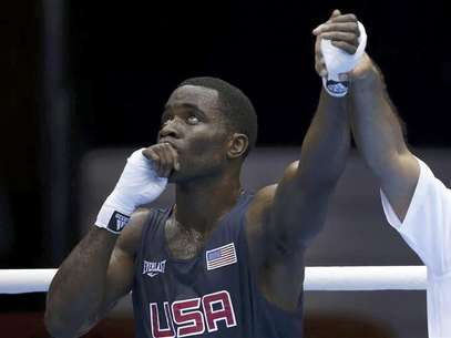 Terrell Gausha of the U.S. reacts after defeating Armenia's Andranik Hakobyan in the Men's Middle (75kg) Round of 32 Bout 8 boxing match at ExCeL venue during the London 2012 Olympic Games July 28, 2012. Foto: Murad Sezer / Reuters In English