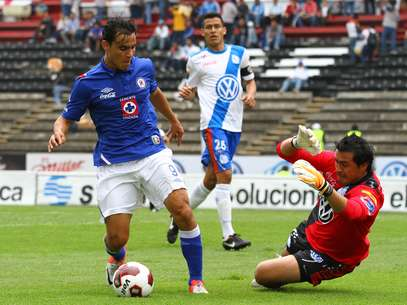 Omar Bravo challenges the Puebla keeper during the match. Foto: Mexsport