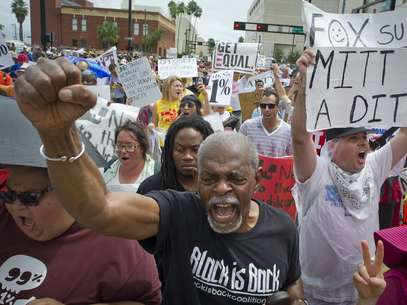 Las protestas se hiciero sentir en ambas convenciones, como en Tampa, durante el mitín republicano. Foto: Getty Images