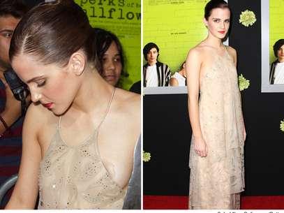 Emma Watson deja ver la florecilla de su pecho en un descuido. Foto: Splash/Getty Images