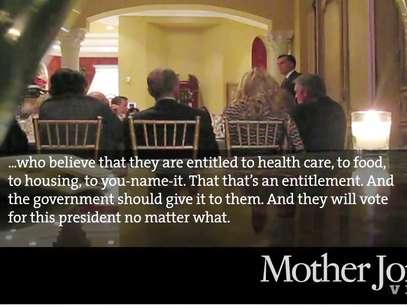 En esta toma de un video del 17 de mayo de 2012 difundido por Mother Jones Video, el candidato presidencial republicano Mitt Romney habla en una cena de recaudación de fondos para grandes donantes en Florida. Foto: AP
