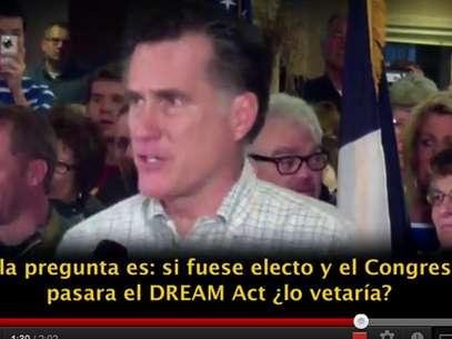 En el video se ve a Romney hablar de la reforma de salud, los indocumentados y los impuestos. Foto: Terra