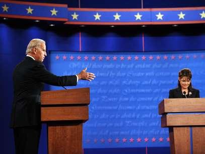 Joe Biden y Sarah Palin, cuando debatieron el 2 de octubre de 2008, en St. Louis, Missouri. Esta noche, Biden debatirá con el candidato a VP republicano, Paul Ryan. Foto: Getty Images