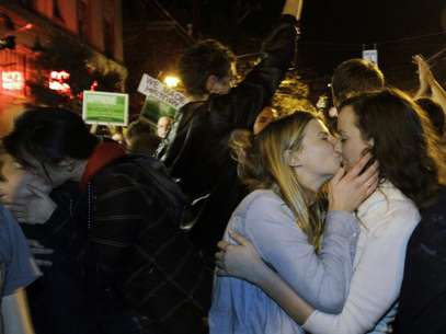 Gay Marriage supporters celebrate after it was announced the measure had passed.  Foto: Getty Images
