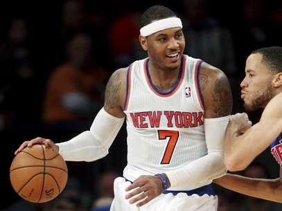 Carmelo Anthony fue una vez más la clave que permitió a los Knicks de Nueva York ganar y en esta ocasión por paliza de 121-100 a los Pistons de Detroit. Foto: AP