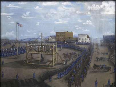 "A painting titled ""Execution of Dakota Indians, Mankato, Minnesota"" is pictured in this handout photo from the Minnesota Historical Society. Foto: Minnesota Historical Society / Reuters"