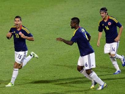 Juan Nieto celebra su anotación, que fue el primer gol de Colombia sobre Ecuador. Foto: AFP
