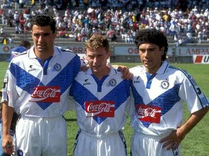 El Celaya logró reunir en 1997 a tres ex figuras del Real Madrid: Míchel, Emilio Butragueño y Hugo Sánchez; más tarde se incorporó Martín Vázquez, quien solamente coincidió con el 'Buitre'. Foto: Mexsport