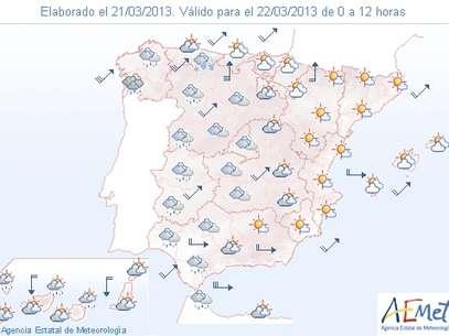 Previsión del tiempo para el viernes 22 de marzo Foto: AEMET