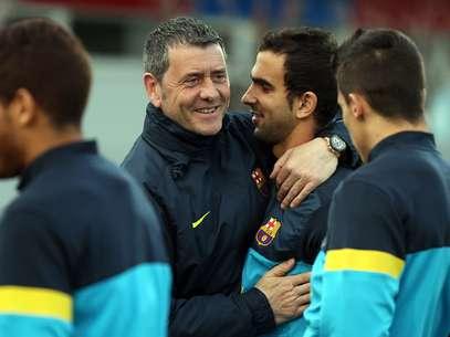 Montoya con Carlos Busquets, entrendor de porteros del Barça B Foto: FCB