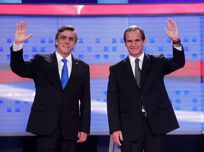 Pablo Longueira y Andrés Allamand antes del debate en Cabal 13. Foto: Agencia uno
