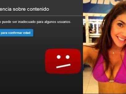 Advertencia en Youtube del videoclip en el que figura Vania Bludau. Foto: Difusión
