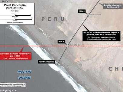 En la imagen se observa el triángulo, de unas tres hectáreas, que se forma entre el punto Concordia y el Hito N°1 y que Chile reclama como suyo. El Perú rechaza esta posición, pues el tratado de 1929 estableció que el límite terrestre entre Perú y Chile es en el punto Concordia. Foto: Difusión