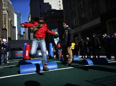 fans play in the super bowl boulevard fan zone ahead of the super bowl