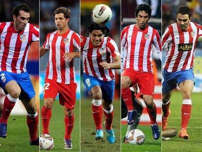Diego Godín, Diego, Falcao, Arda Turan y Adrián son los cinco irreverentes del Atlético de Madrid que buscarán darle otra Europa League al equipo español Foto: AFP