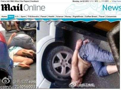 El momento del ataque del nuevo caso de un caníval en China. Foto: Reproducción/Daily Mail