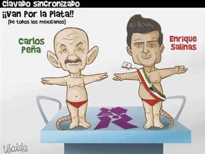 """""""Clavado sincronizado"""", del caricaturista Ubaldo Foto: Especial"""