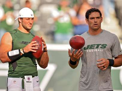Neither Tim Tebow nor Mark Sanchez had much luck against the Super Bowl champs.  Foto: Getty Images