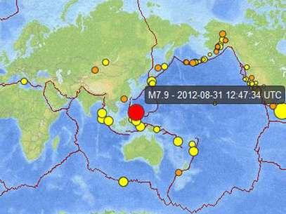 Captura del USGS donde se ve, marcado en rojo, el lugar del temblor. Foto: Terra