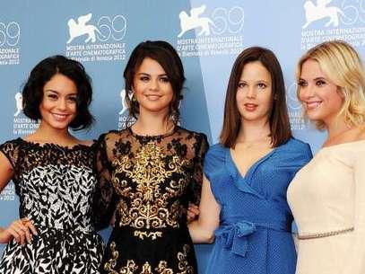 """Selena Gómez junto a las protagonistas de """"Spring Breakers"""",  Foto: Getty"""