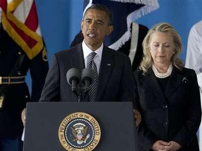 Barack Obama, durante la ceremonia de recepción de las víctimas de la embajada de EE.UU. en Libia. Foto: AP