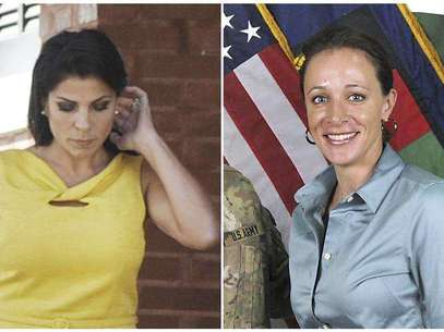A combination photo shows Jill Kelley (L), a friend of former U.S. General David Petraeus' family, in Tampa, Florida on November 12, 2012 and Petraeus' biographer Paula Broadwell, in an ISAF handout image, originally posted July 13, 2011. Foto: Brian Blanco / Reuters