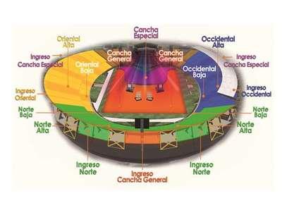 Así será la distribución del estadio según la boletería. Foto: Facebook Ocesa Colombia