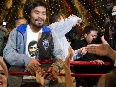 Pacquiao ya está en Las Vegas para su cuarta pelea ante Juan Manuel Márquez. Foto: AP