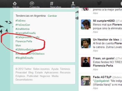 El video prohibido de Florencia creció en Twitter de inmediato Foto: Twitter